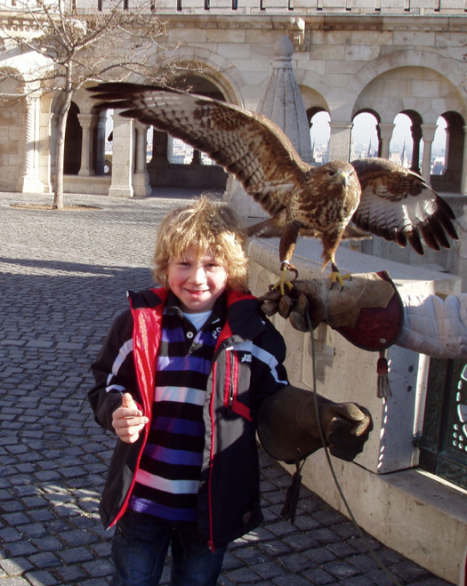 Ben with an Eagle in Budapest