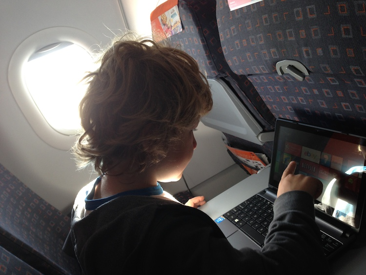 Me typing on the plane!